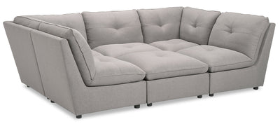 Paolo 6-Piece Linen-Look Fabric Modular Sectional with Ottoman - Light Grey|Sofa sectionnel modulaire Paolo 6 pièces en tissu d'apparence lin avec pouf - gris pâle|PAOLLGS6