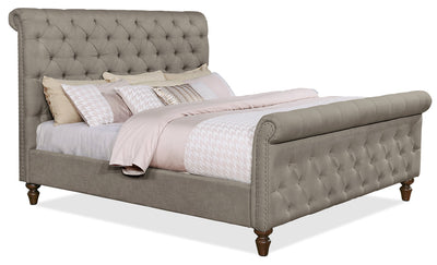 Paris King Bed - Traditional style Bed in Taupe Pine and Fabric