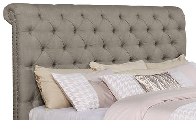 Paris King Headboard - Traditional style Headboard in Taupe Pine and Fabric