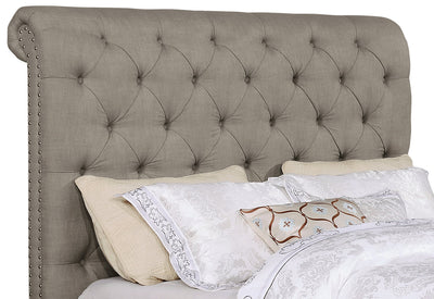 Paris Queen Headboard - Traditional style Headboard in Taupe Pine and Fabric