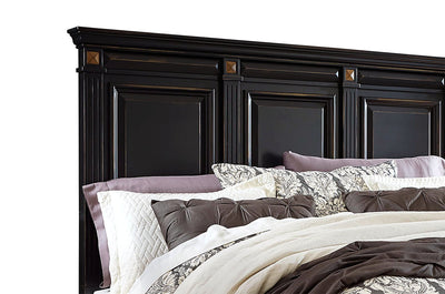 Passages King Headboard - Black - Traditional style Headboard in Vintage Black Poplar