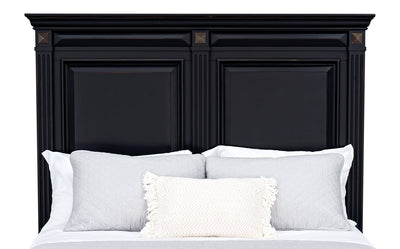 Passages Queen Headboard - Black - Traditional style Headboard in Vintage Black Poplar