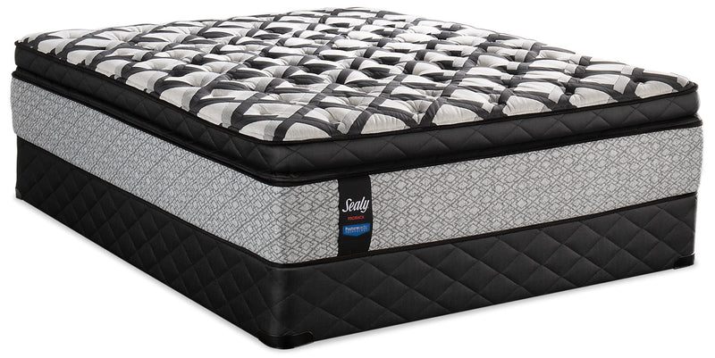 Sealy Posturepedic Proback Pacific Edge Euro Pillowtop Split Queen Mattress Set|Ensemble à Euro-plateau épais divisé Pacific Edge PosturepedicMD PROBACKMD de Sealy pour grand lit