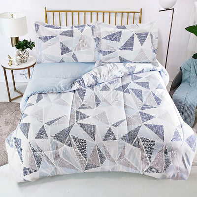 Phoenix 3-Piece Full/Queen Comforter Set - Blue, White, Grey and Taupe Comforter Set