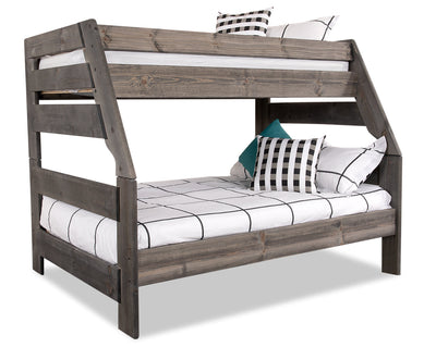 Piper Twin/Full Bunkbed - {Rustic} style Bunk Bed in Driftwood grey {Pine}