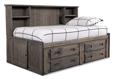 Piper Twin Storage Bed - {Rustic} style Bed in Driftwood grey {Pine}
