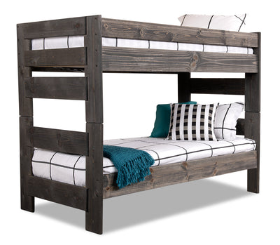 Piper Twin/Twin Bunkbed - {Rustic} style Bunk Bed in Driftwood grey {Pine}