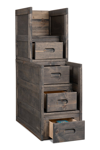 Piper Stairway Chest - {Rustic} style Chest in Driftwood grey {Pine}