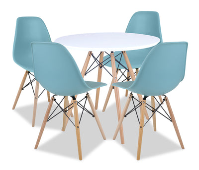 Prato 5-Piece Round Dining Package - Aqua