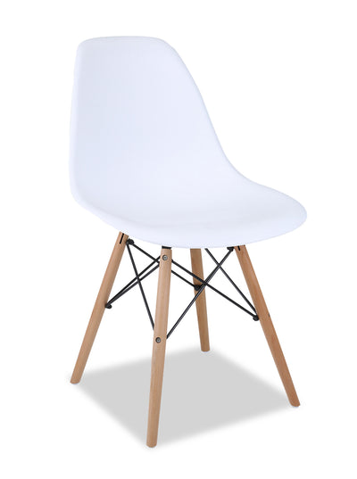 Prato Dining Chair - White - {Retro} style Dining Chair in White {Medium Density Fibreboard (MDF)}, {Beech}, {Plastic}