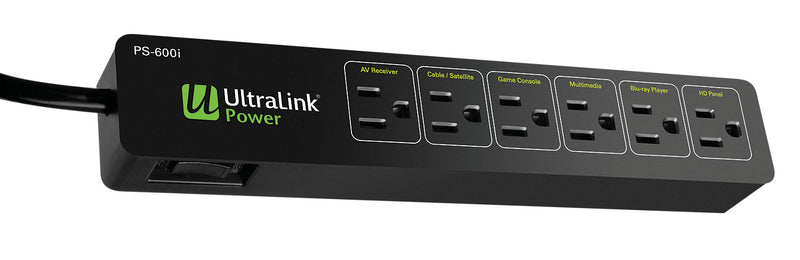 The Brick Power Bar - UltraLink Power PS-600I 6-Outlet Power Bar with 600 J Surge Protection