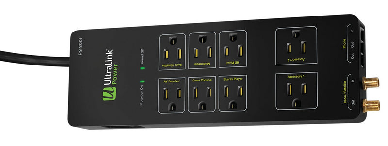 UltraLink Power PS-800i  8-Outlet Power Bar with 3,750 J Surge Protection|Multiprise Power PS-800i UltraLinkMD à 8 prise avec protection contre les surtensions|PS800IPB