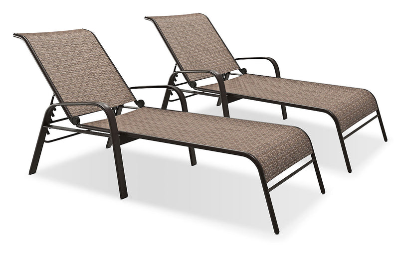 Reclining Loungers, Set of 2 – Brown|Chaise longue inclinable, ensemble de 2 – brune
