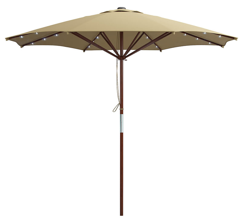 Wood-Frame Patio Umbrella with LED Lighting – Taupe|Parasol pour la terrasse avec armature en bois et éclairage à DEL - taupe