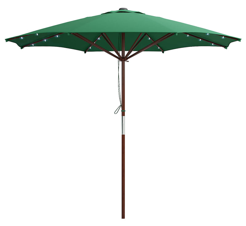 Wood-Frame Patio Umbrella with LED Lighting – Green|Parasol pour la terrasse avec armature en bois et éclairage à DEL - vert