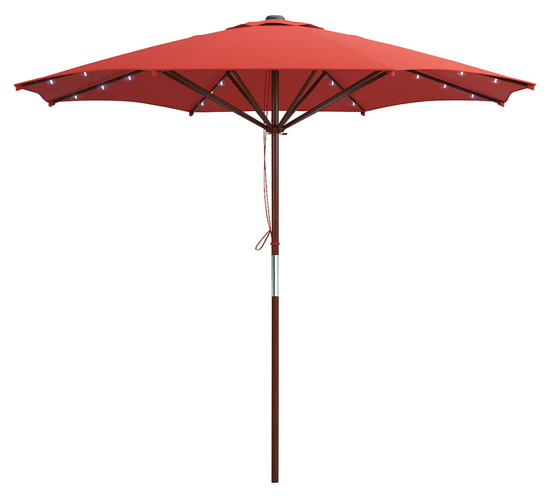 Wood-Frame Patio Umbrella with LED Lighting – Red|Parasol pour la terrasse avec armature en bois et éclairage à DEL - rouge