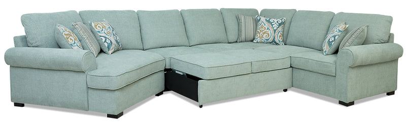 Randal 4 Piece Fabric Left Facing Sleeper Sectional With Cuddler The Brick
