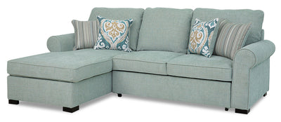 Randal 2-Piece Fabric Left-Facing Sleeper Sectional with Storage Chaise - Seafoam