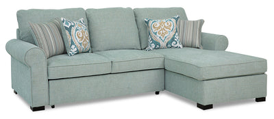 Randal 2-Piece Fabric Right-Facing Sleeper Sectional with Storage Chaise - Seafoam