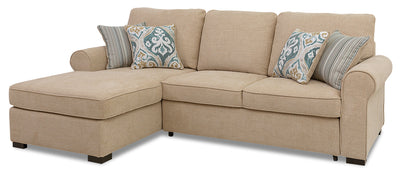 Randal 2-Piece Fabric Left-Facing Sleeper Sectional with Storage Chaise - Taupe