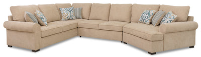 Randal 3-Piece Fabric Right-Facing Sleeper Sectional with Cuddler - Taupe|Sofa-lit sectionnel de droite Randal 3 pièces en tissu avec fauteuil arrondi - taupe|RANDTRC3