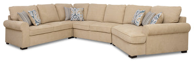 Randal 4-Piece Fabric Right-Facing Sleeper Sectional with Cuddler - Taupe|Sofa-lit sectionnel de droite Randal 4 pièces en tissu avec fauteuil arrondi - taupe|RANDTRC4