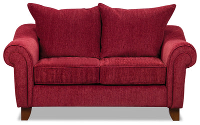 Reese Chenille Loveseat – Red - Contemporary style Loveseat in Red