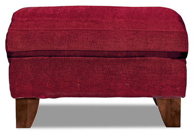 Reese Chenille Ottoman – Red - Contemporary style Ottoman in Red