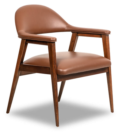 Robin Leather-Look Fabric Accent Chair - Brown|Fauteuil d'appoint Robin d'apparence cuir - brun|ROBINBAC