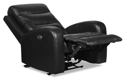 Roger Genuine Leather Power Recliner - Black - {Contemporary} style Chair in Black {Plywood}, {Solid Woods}