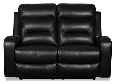 Roger Genuine Leather Power Reclining Loveseat - Black - {Contemporary} style Loveseat in Black {Plywood}, {Solid Woods}