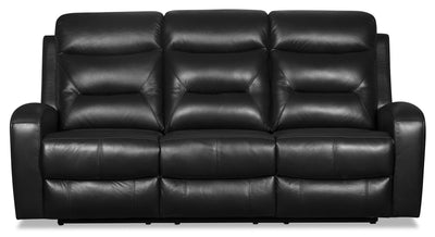Roger Genuine Leather Power Reclining Sofa - Black - {Contemporary} style Sofa in Black {Plywood}, {Solid Woods}