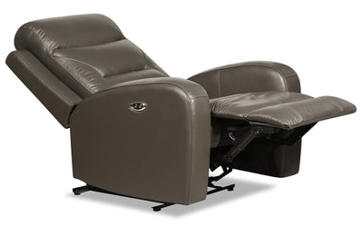 Roger Genuine Leather Power Recliner - Grey - {Contemporary} style Chair in Grey {Plywood}, {Solid Woods}