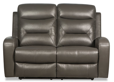 Roger Genuine Leather Power Reclining Loveseat - Grey - {Contemporary} style Loveseat in Grey {Plywood}, {Solid Woods}