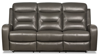 Roger Genuine Leather Power Reclining Sofa - Grey|Sofa à inclinaison électrique Roger en cuir véritable - gris|ROGEDGPS