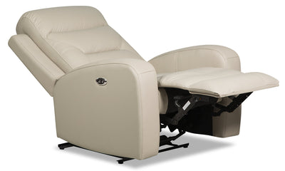 Roger Genuine Leather Power Recliner - Beige - {Contemporary} style Chair in Beige {Plywood}, {Solid Woods}