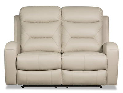 Roger Genuine Leather Power Reclining Loveseat - Beige - {Contemporary} style Loveseat in Beige {Plywood}, {Solid Woods}