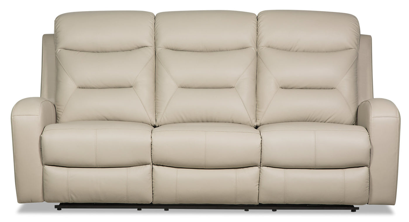 Roger Genuine Leather Power Reclining Sofa Beige