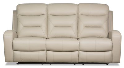 Roger Genuine Leather Power Reclining Sofa - Beige - {Contemporary} style Sofa in Beige {Plywood}, {Solid Woods}