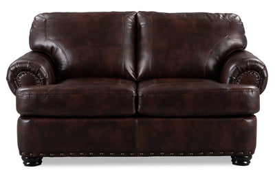 Roma Leather-Look Fabric Loveseat - Brown
