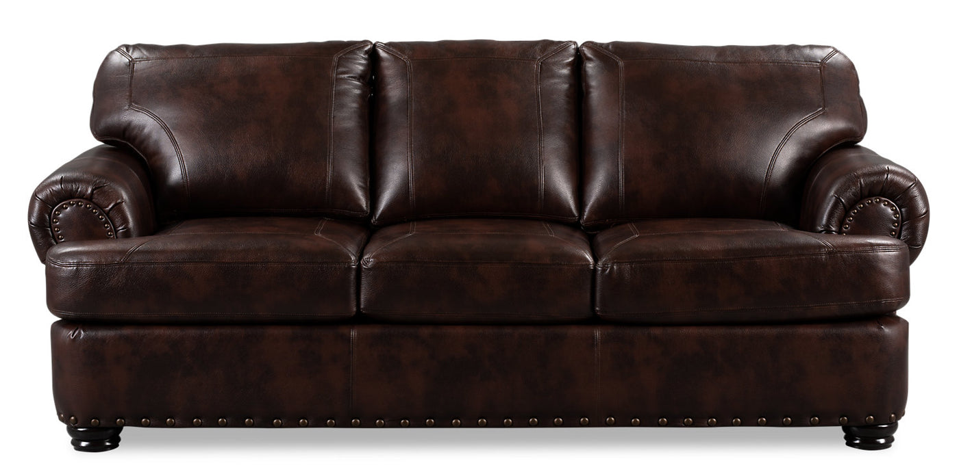 - Roma Leather-Look Fabric Sofa - Brown The Brick