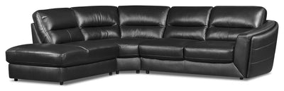 Romeo 3-Piece Genuine Leather Left-Facing Sectional - Black - {Modern} style Sectional in Black {Plywood}, {Solid Woods}