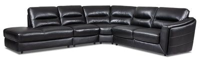 Romeo 4-Piece Genuine Leather Left-Facing Sectional - Black - {Modern} style Sectional in Black {Plywood}, {Solid Woods}