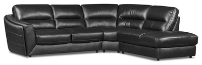Romeo 3-Piece Genuine Leather Right-Facing Sectional - Black - {Modern} style Sectional in Black {Plywood}, {Solid Woods}