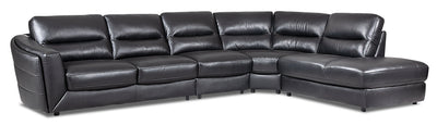 Romeo 4-Piece Genuine Leather Right-Facing Sectional - Black - {Modern} style Sectional in Black {Plywood}, {Solid Woods}