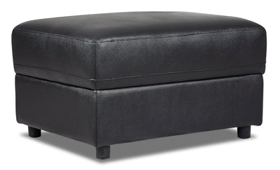 Romeo Genuine Leather Ottoman - Black|Pouf Romeo en cuir véritable – noir|ROMEBKOT