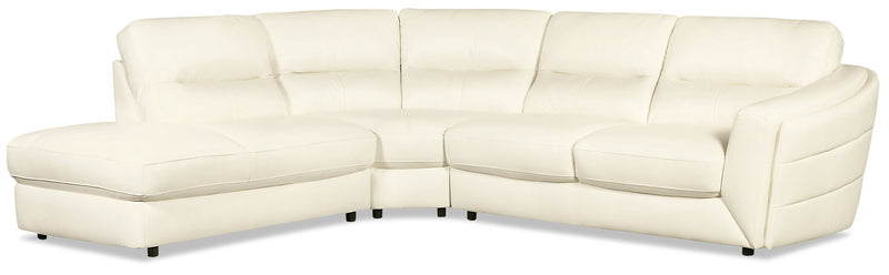 Romeo 3-Piece Genuine Leather Left-Facing Sectional – Beige|Sofa sectionnel de gauche Romeo 3 pièces en cuir véritable - beige|ROMEBLS3
