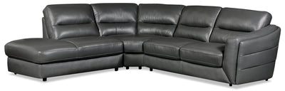 Romeo 3-Piece Genuine Leather Left-Facing Sectional – Grey - Modern style Sectional in Grey