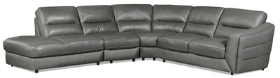 Romeo 4-Piece Genuine Leather Left-Facing Sectional – Grey - Modern style Sectional in Grey