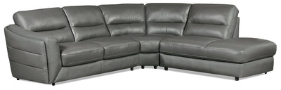 Romeo 3-Piece Genuine Leather Right-Facing Sectional – Grey - Modern style Sectional in Grey